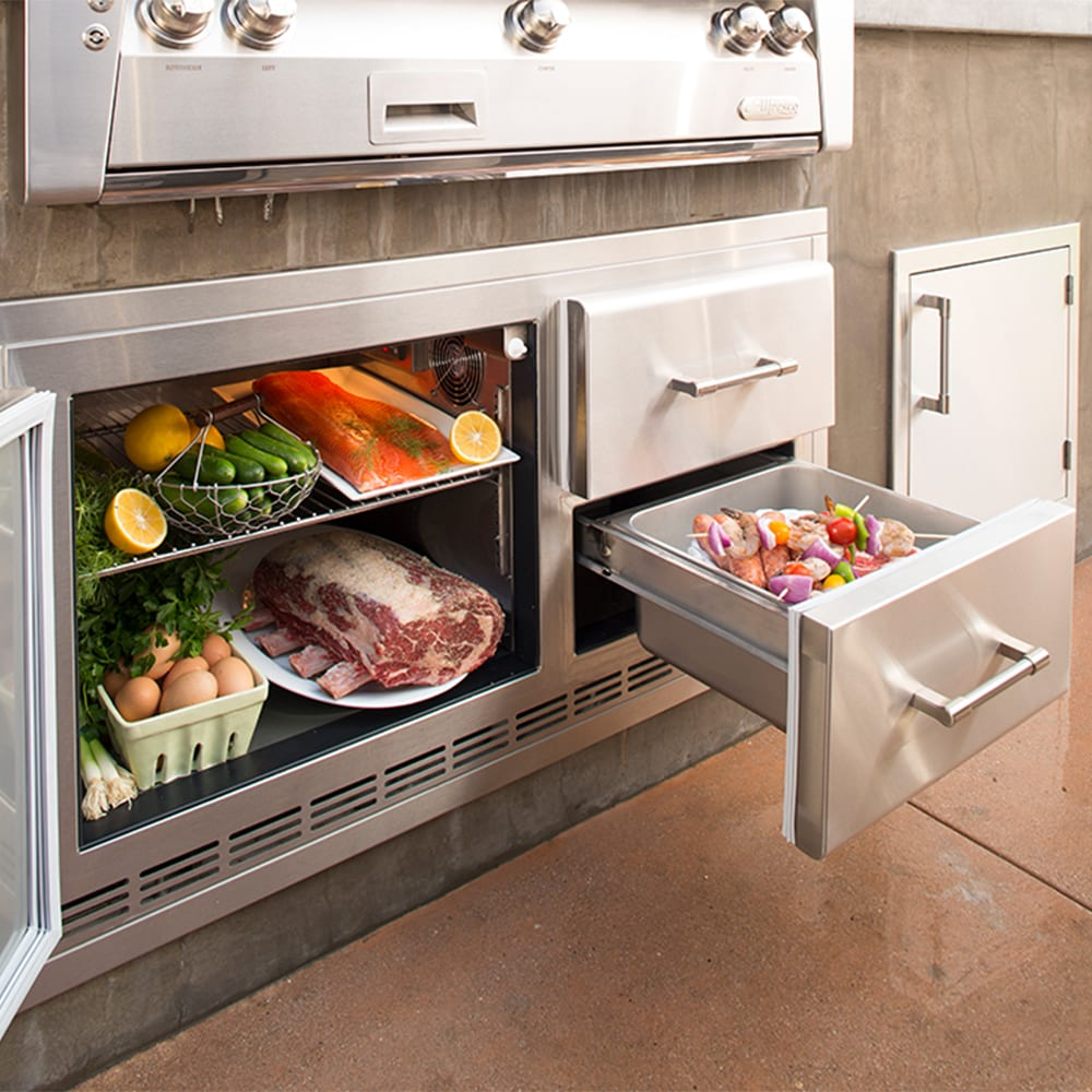 Alfresco 42 Inch Built In Under Grill Refrigerator Arxe 42